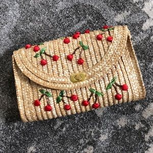 Cherry Girl Rattan Clutch